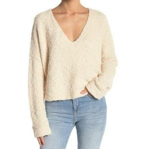 ✔ Free People fuzzy popcorn sweater size large